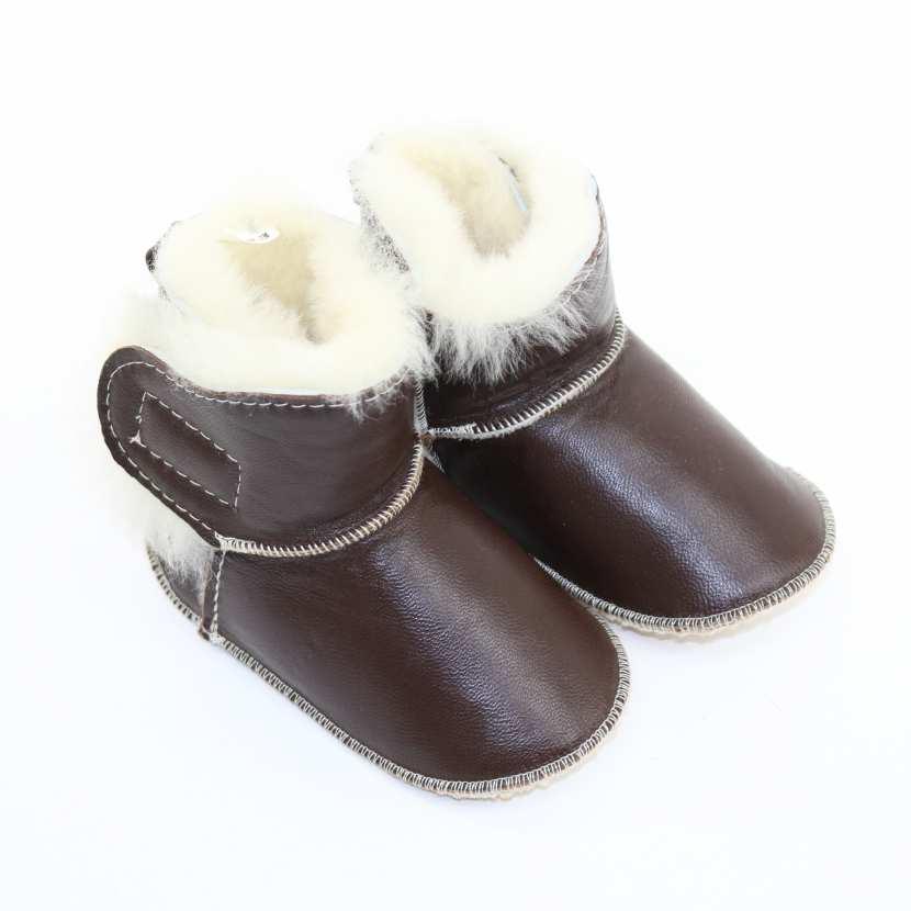chaussons b b en peau fourrure d 39 agneau marron choco fourr mouton. Black Bedroom Furniture Sets. Home Design Ideas